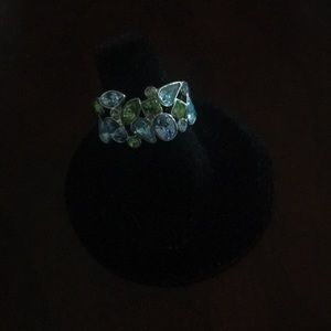 Lia sophia silver ring with blue & green crystals